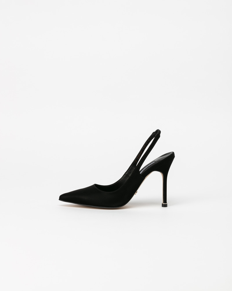 Demain Slingback Pumps in Black Silk Coated Kip