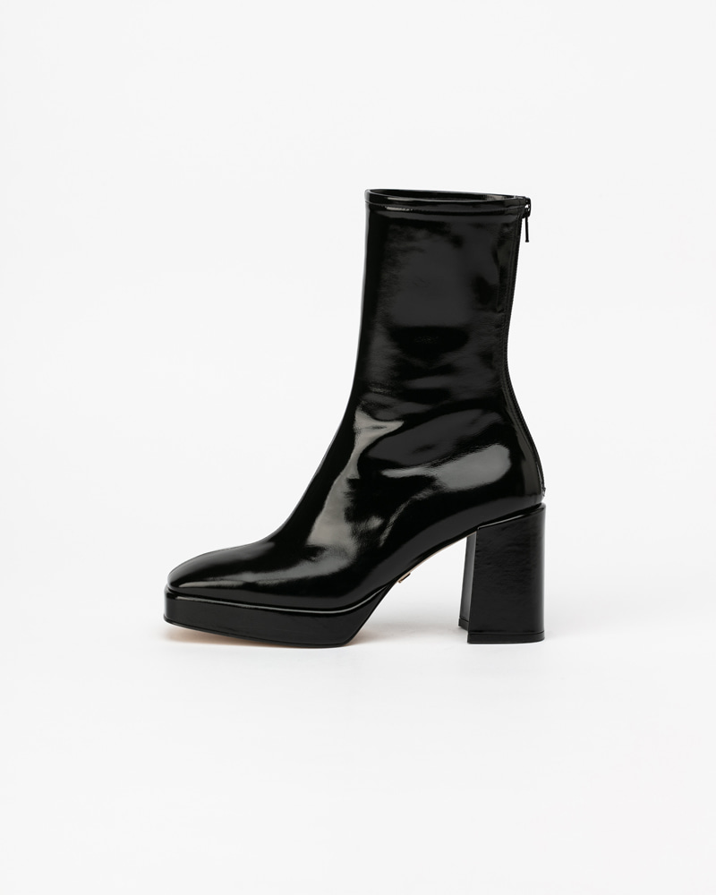 Festas Platform Boots in Textured Black Patent
