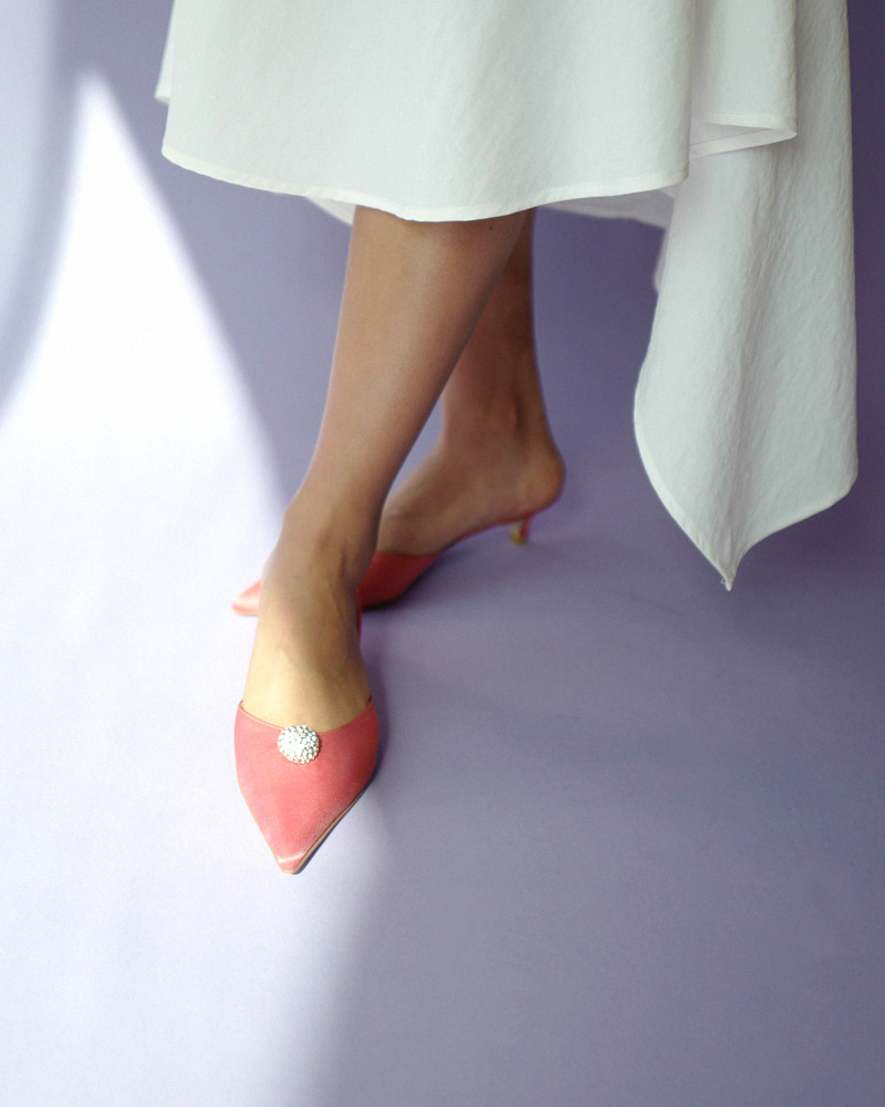 Enchanter Jewel Mules in Coral Pink Silk
