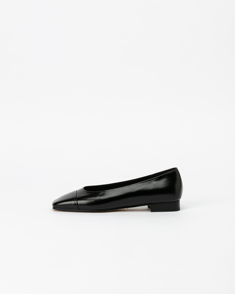 Grazia Flat Shoes in Textured Black Patent