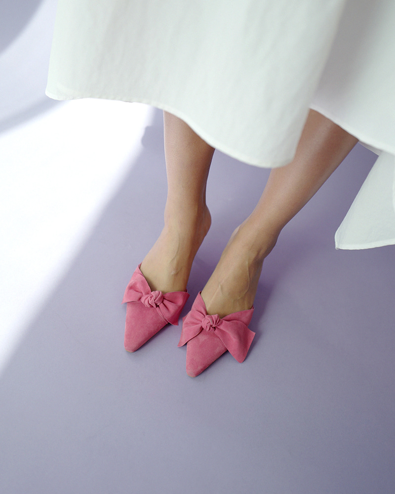 Flos Mule Slides in Hot Pink Suede