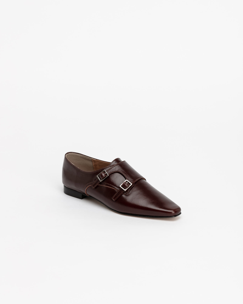 Vamp Monk Shoes in Textured Wine
