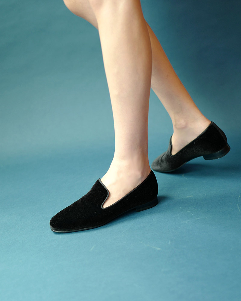 Wynne Slip-on Loafers in Black Velvet