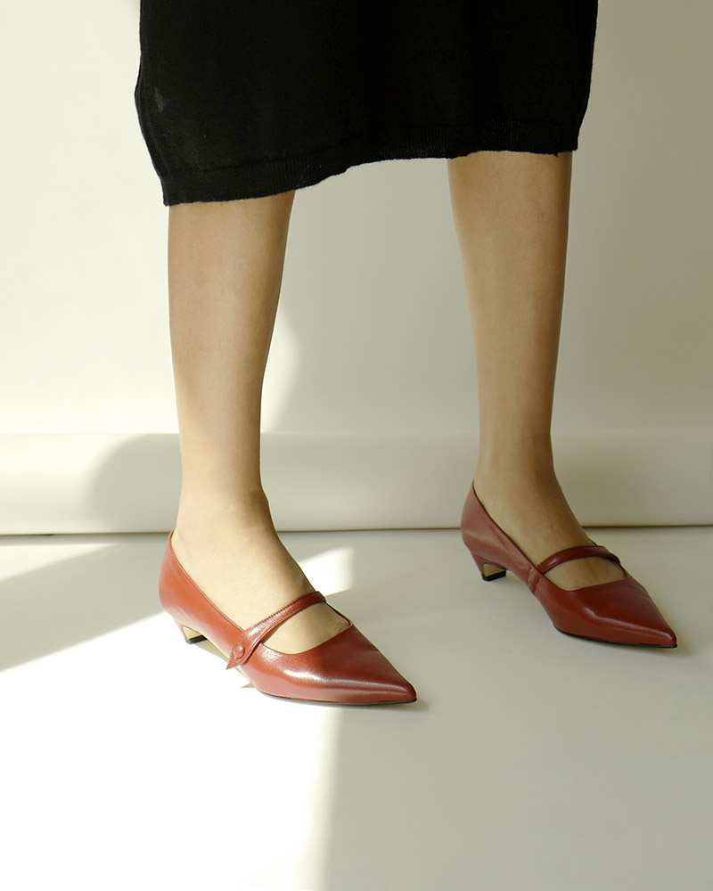Bavaria Maryjane Shoes in Ruby Brown