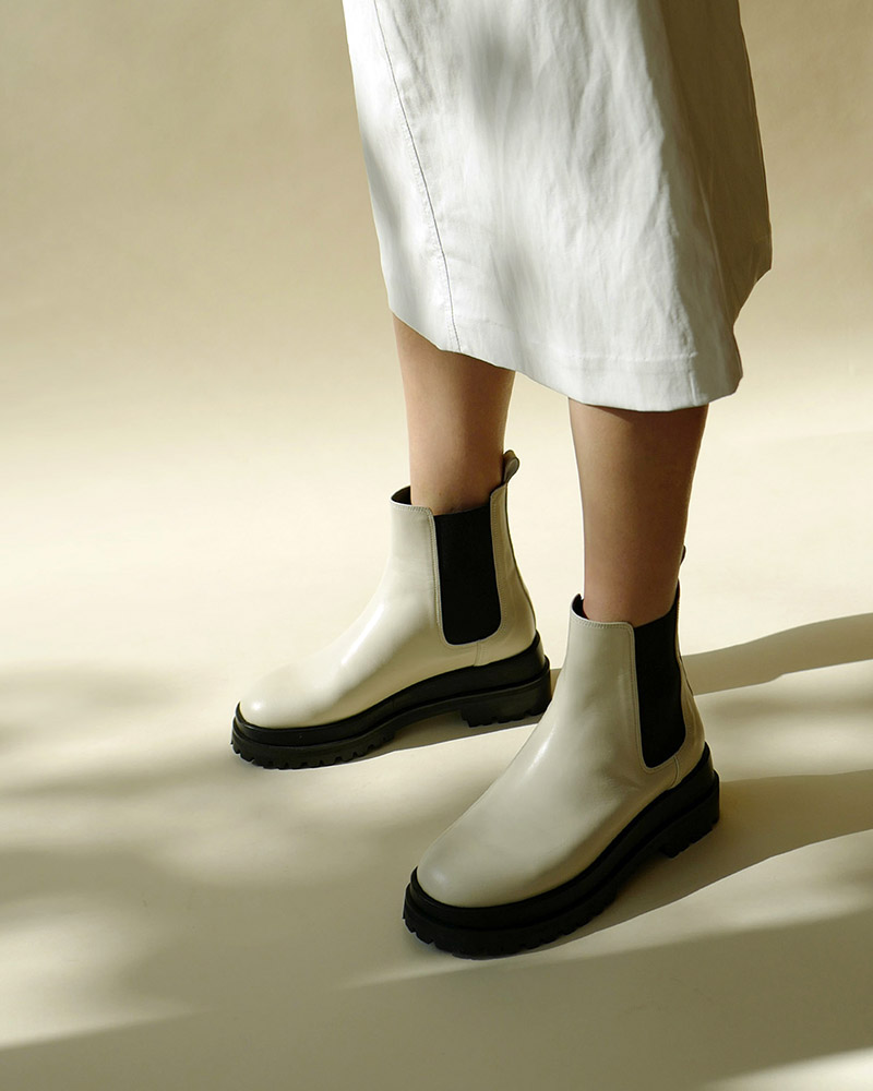 Ballon Double Sole Chelsea Boots in Ivory