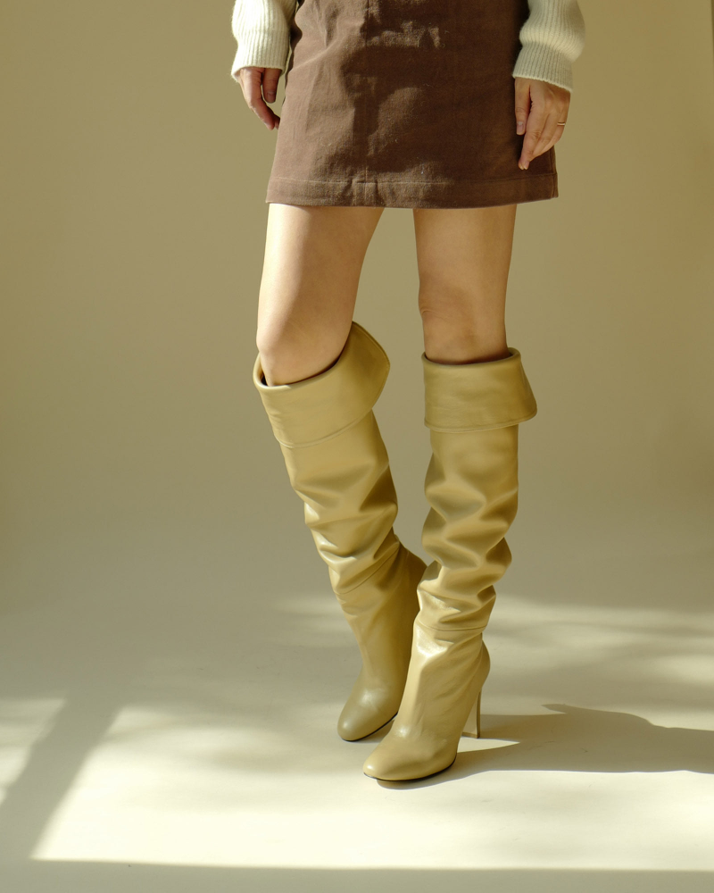Lou Over-the-knee Boots in Yellow Beige