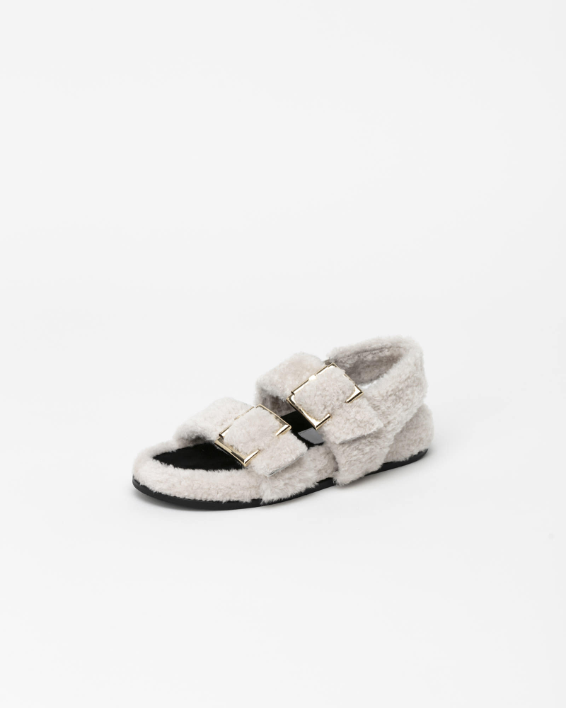 Freyan Footbed Sandals in Ivory Fur
