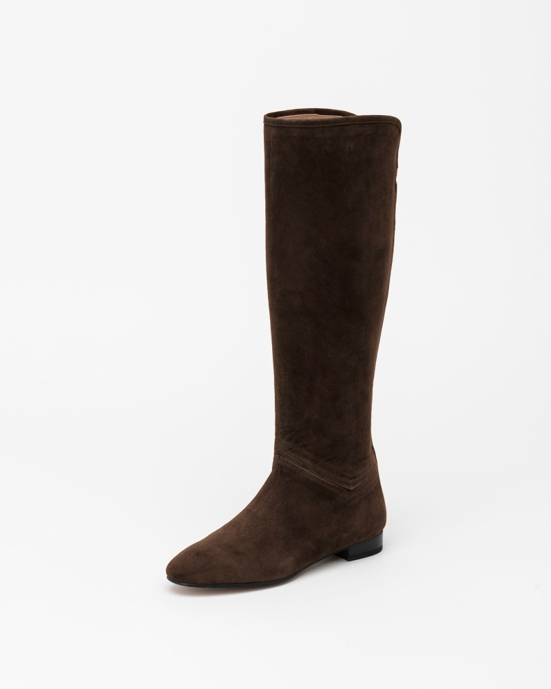 Biscott Flat Boots in Dark Brown Suede