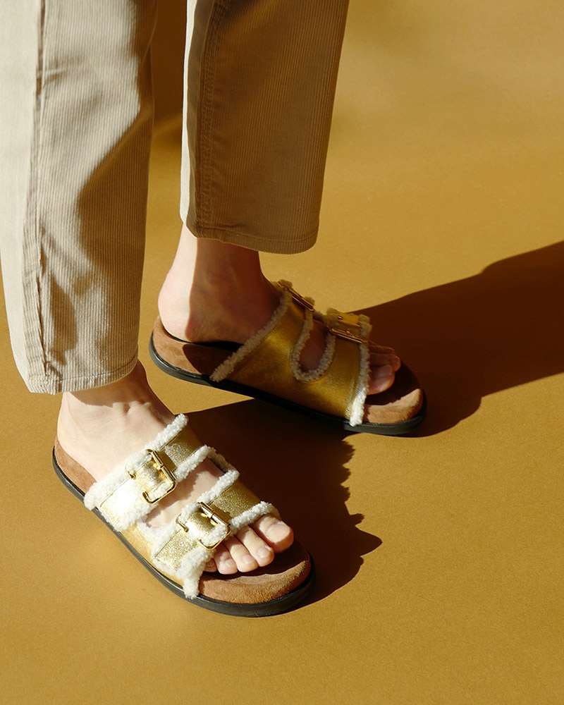 Ollo Shearling Slides in Gold