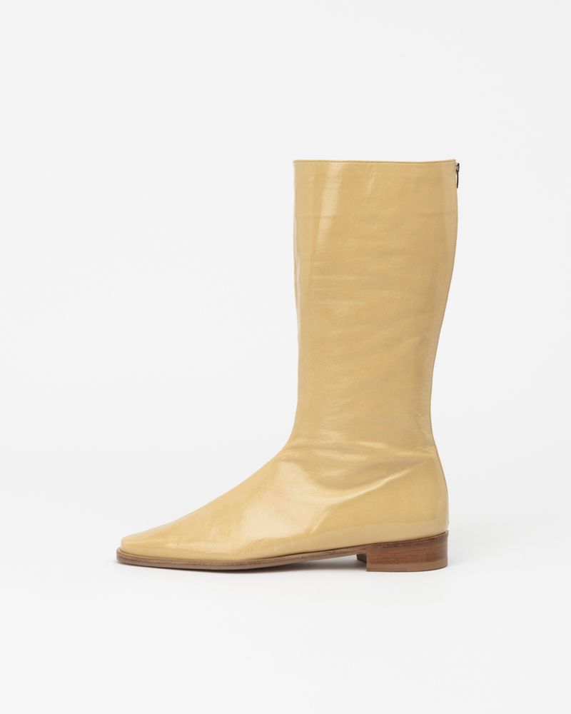 Resin Half Boots in Wrinkled Yellow Patent