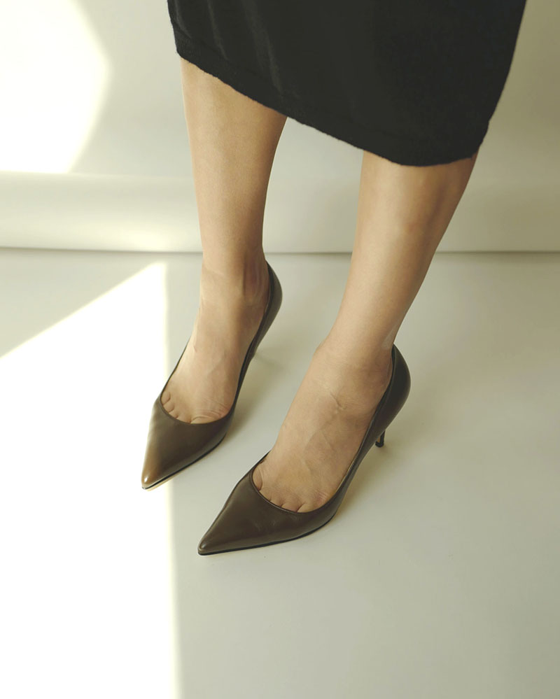 Chauffeur Stiletto Pumps in Dark Brown