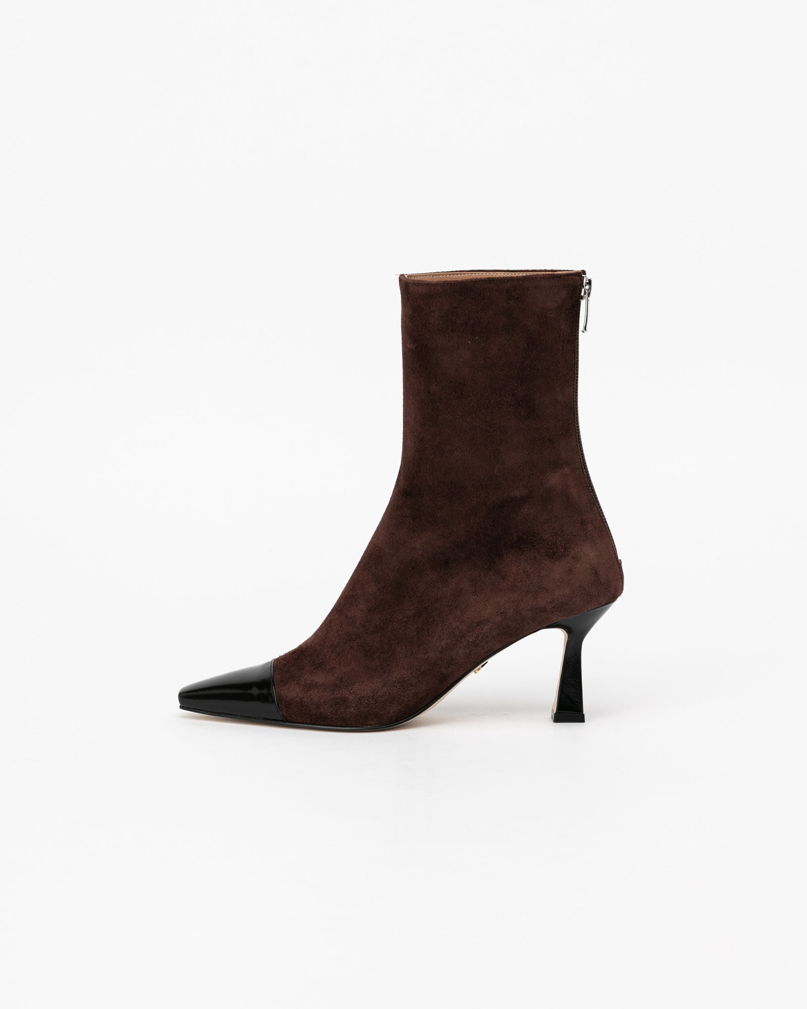 Bella Boots in Dark Brown with Black Toe