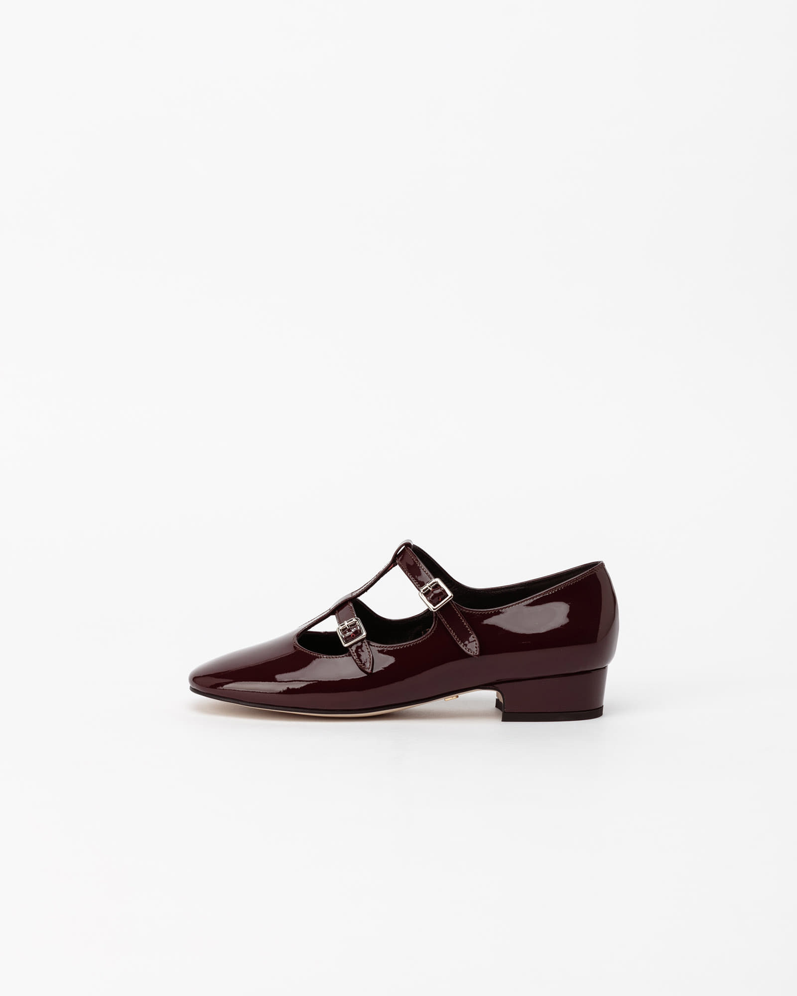 Rupin Double Strap Maryjane Flats in Cherry Wine Patent