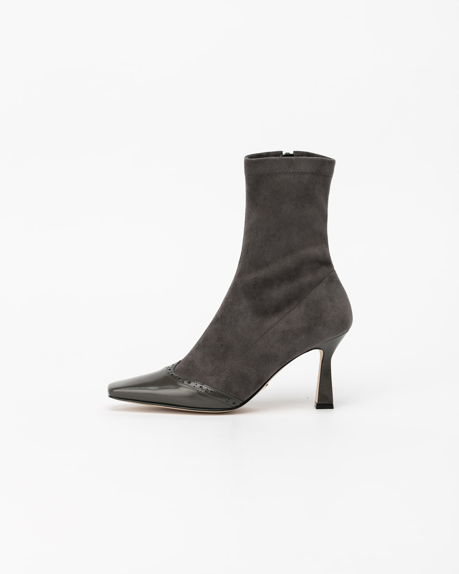 Feroni Spandex Leather Boots in Gray