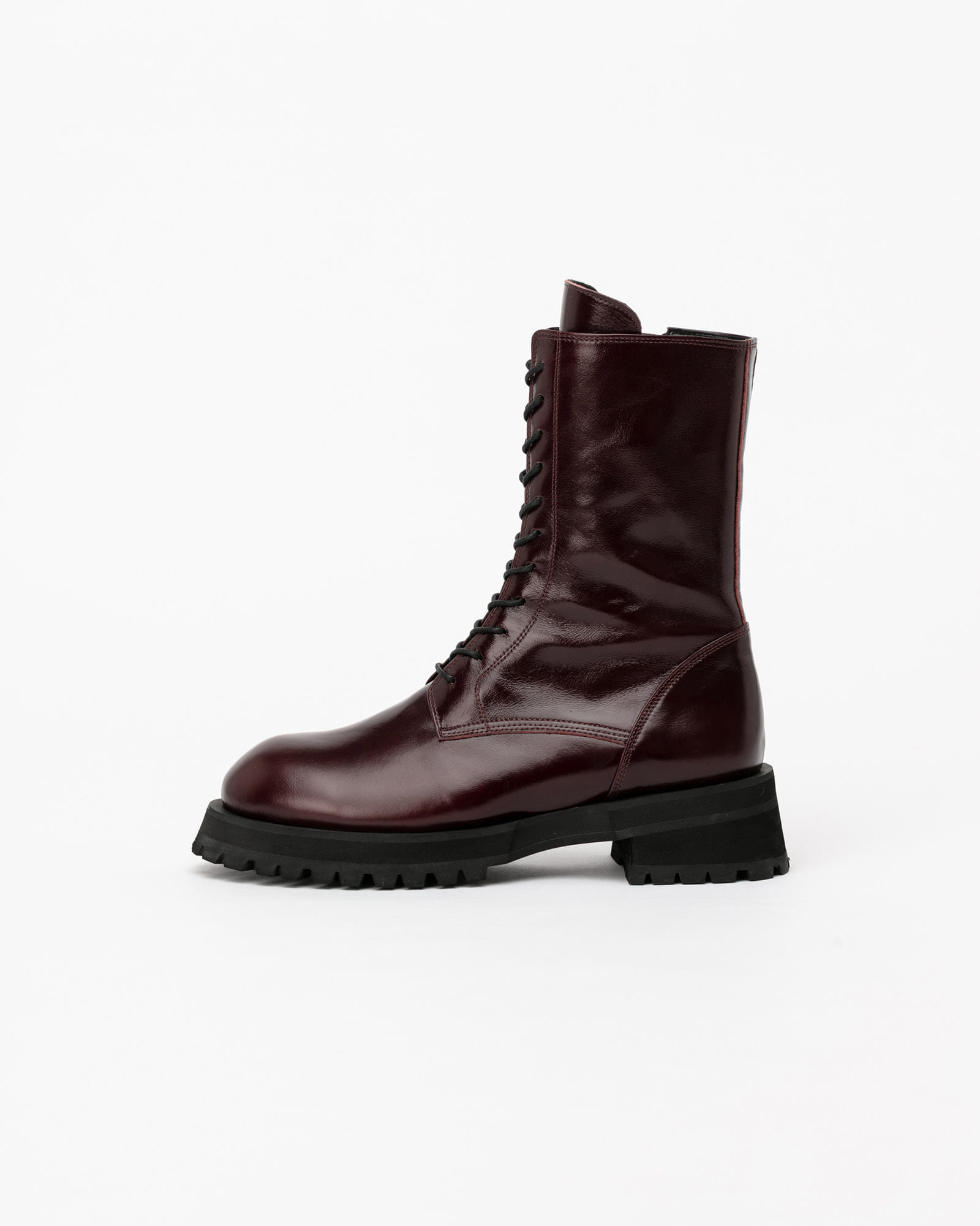 Apost Lace-up Combat Boots in Textured Wine