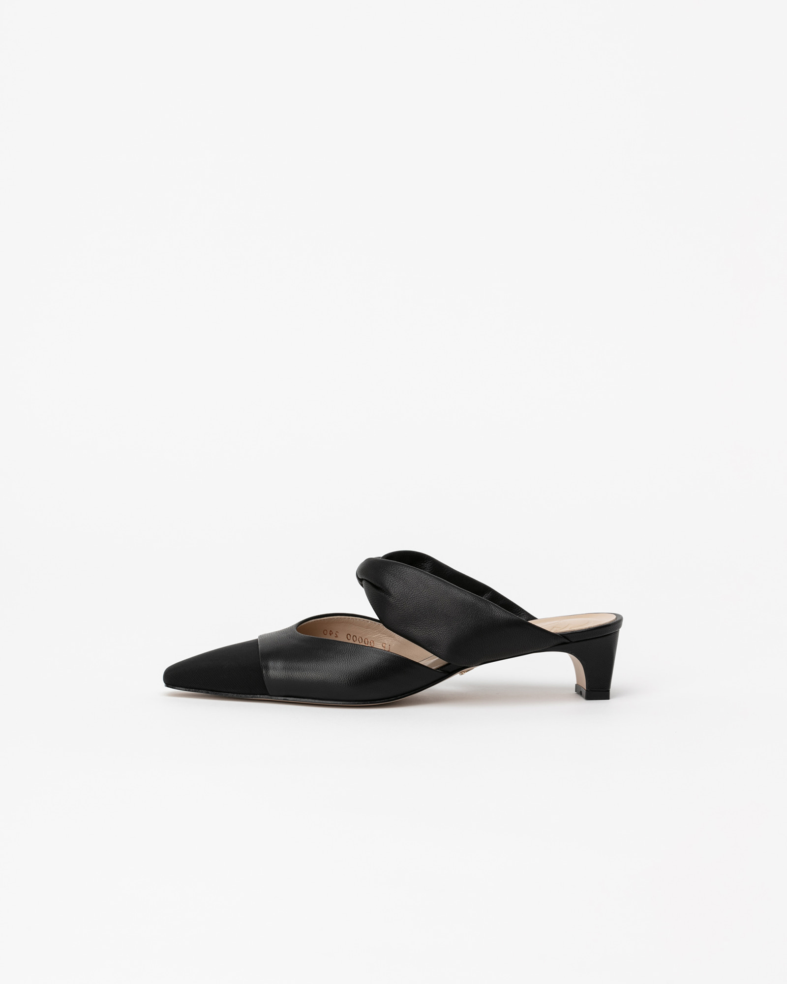 Zena Soft Mules in Black with Black Toe