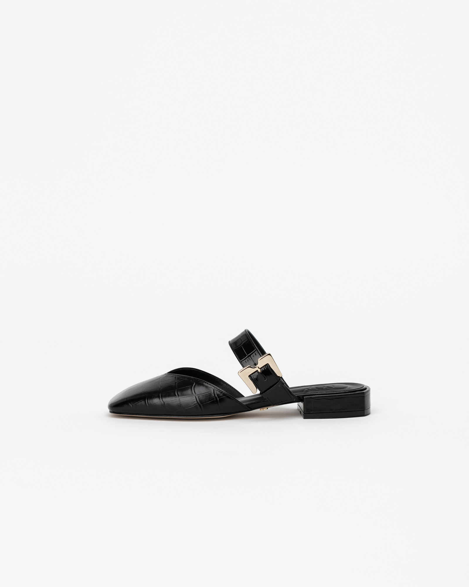 Erika Slides in Black Croco Prints