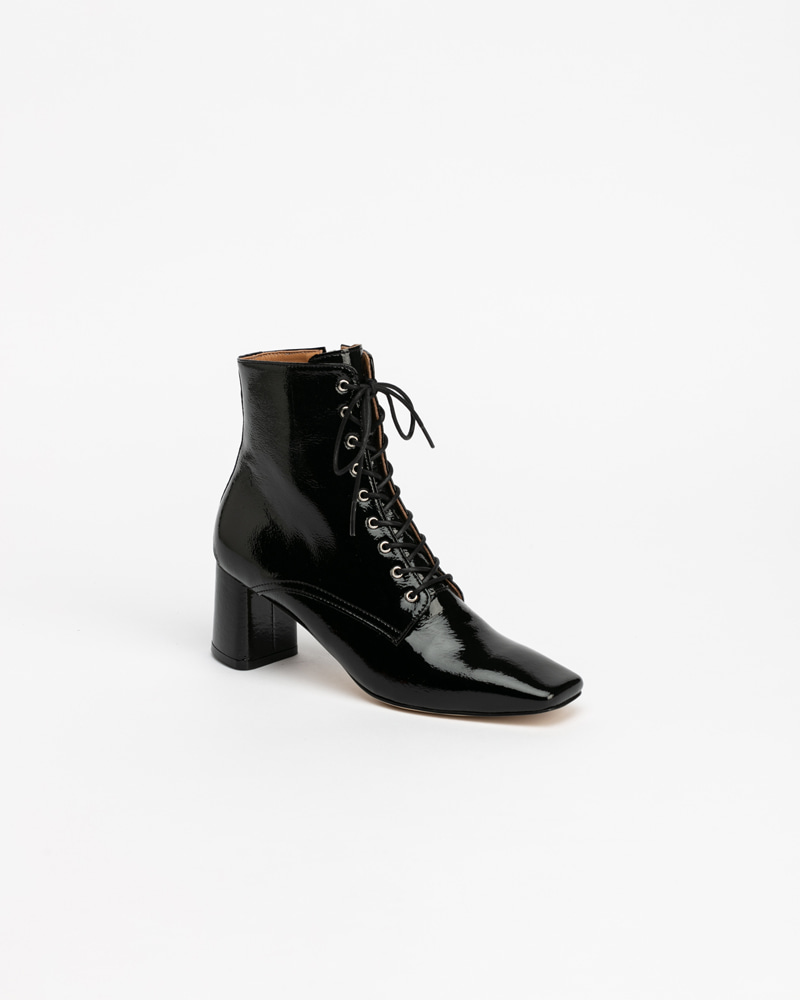 Renoir Lace-up Boots in Black Patent