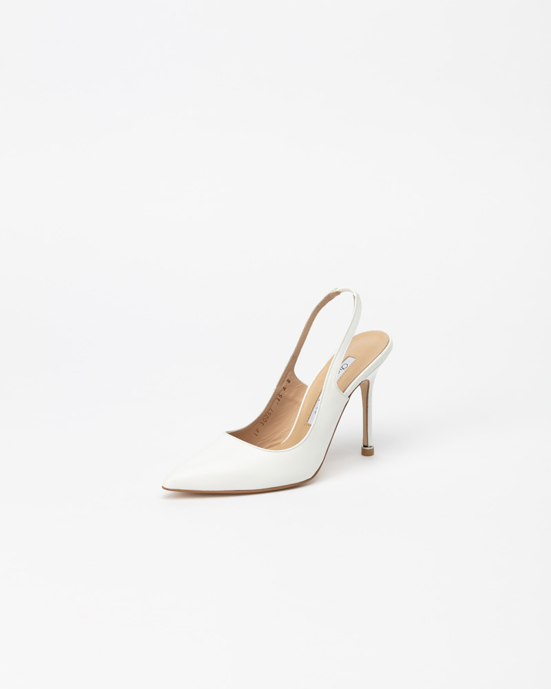 Demain Slingback Pumps in Pure White Leather