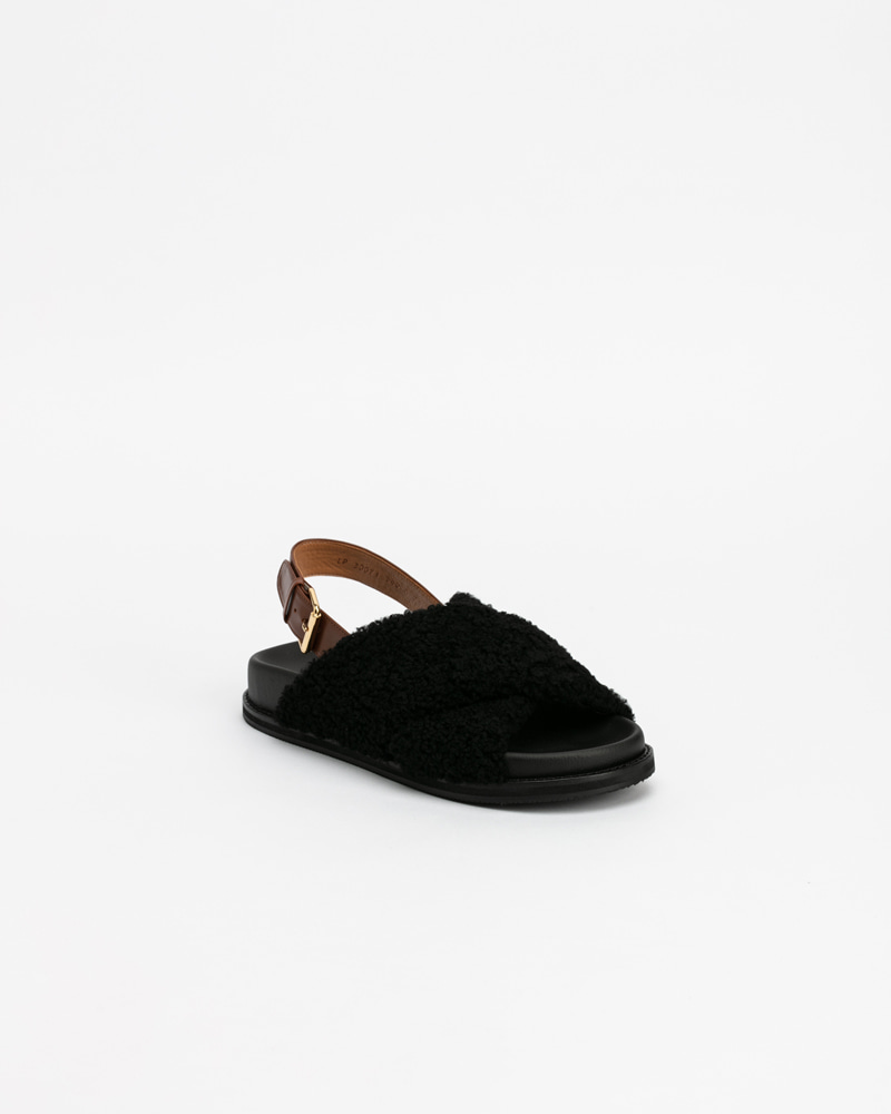 Tuggi Lamb Fur Sandals in Black
