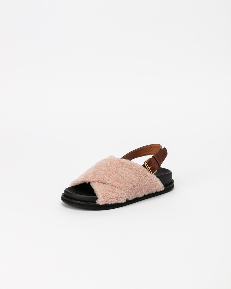 Tuggi Lamb Fur Sandals in Light Pink