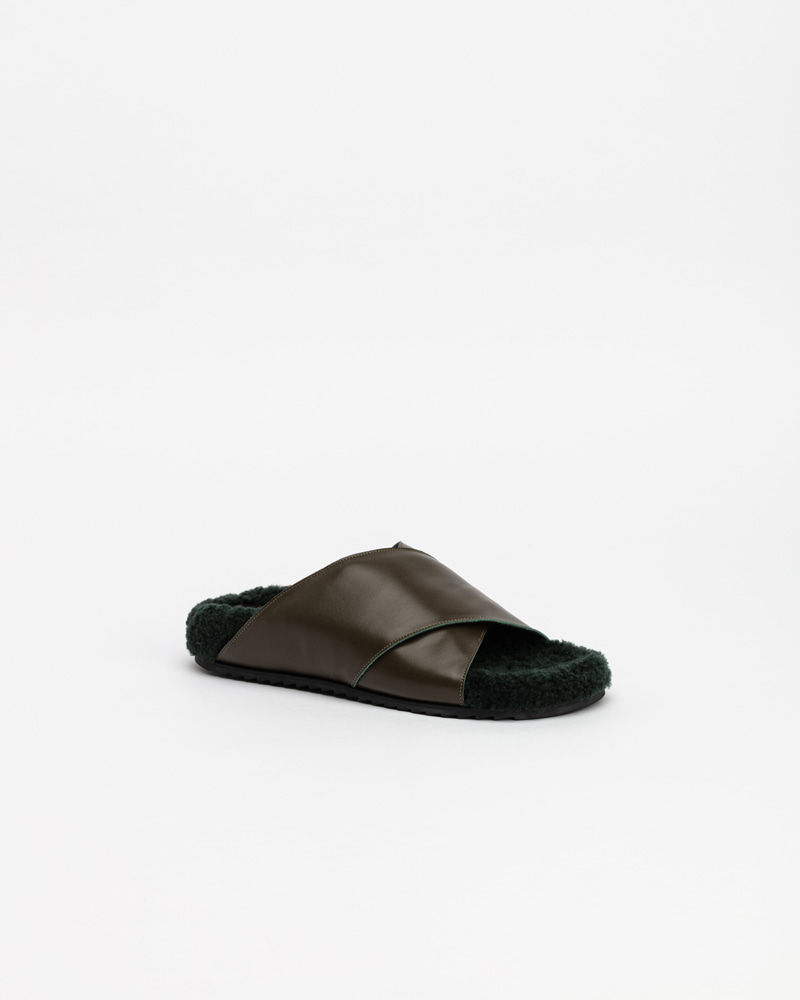 Elfaba Slides in Khaki with Green Fur