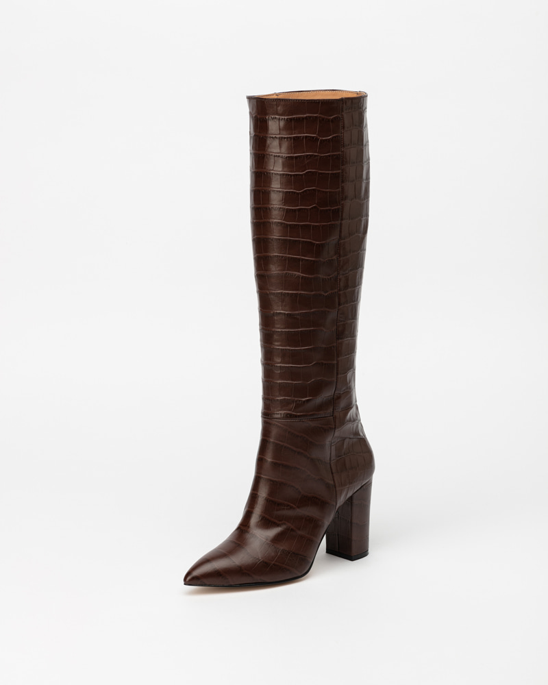 Giverny Boots in Brown Croco Print