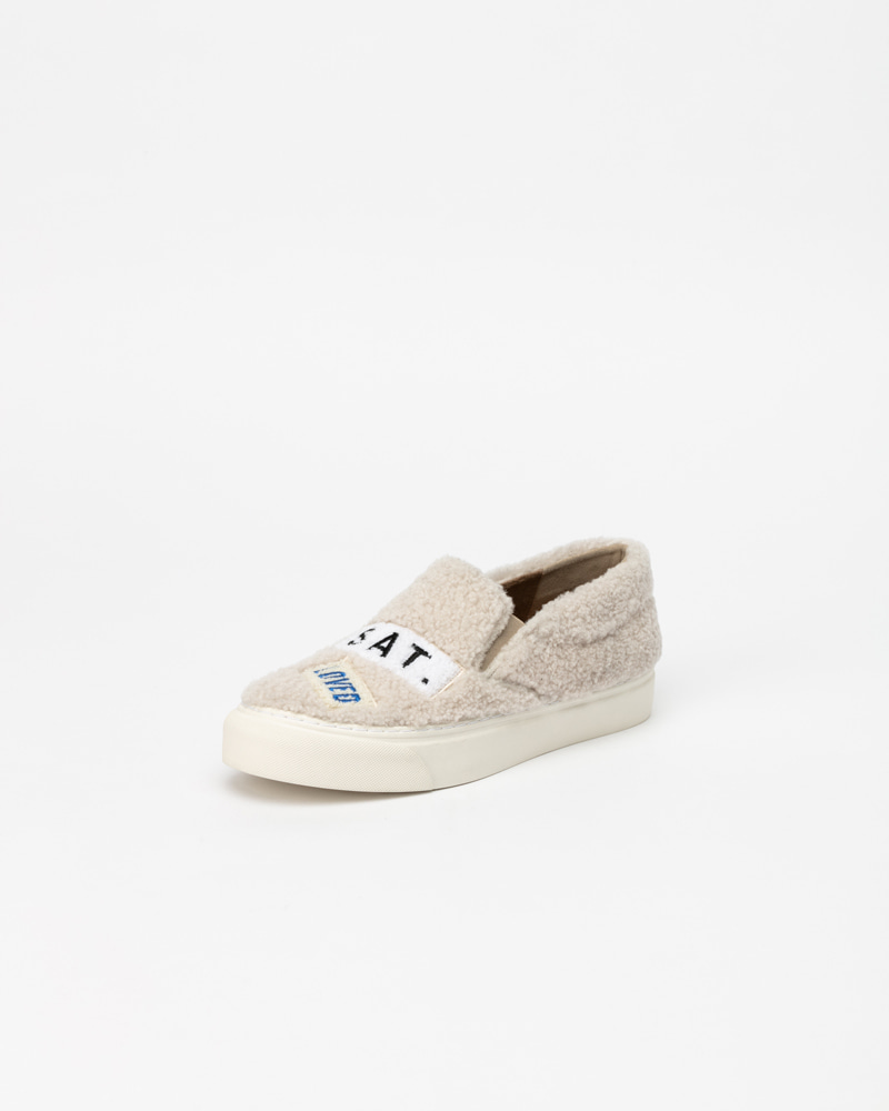 Puggy Sneakers in Ivory Fur