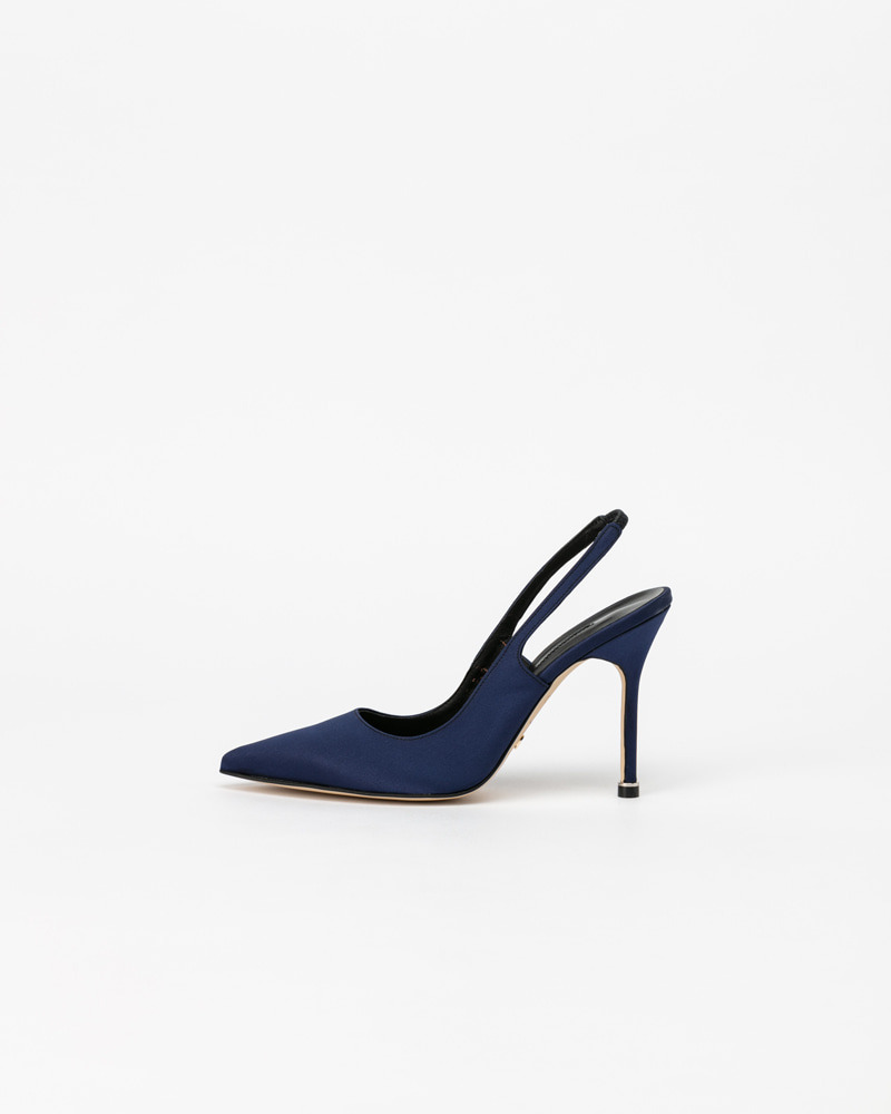 Demain Slingbacks in Navy Satin