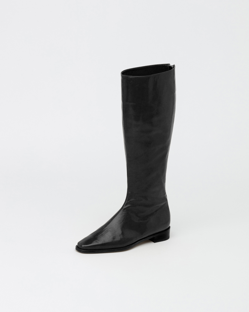 Resin Long Boots in Wrinkled Black Patent