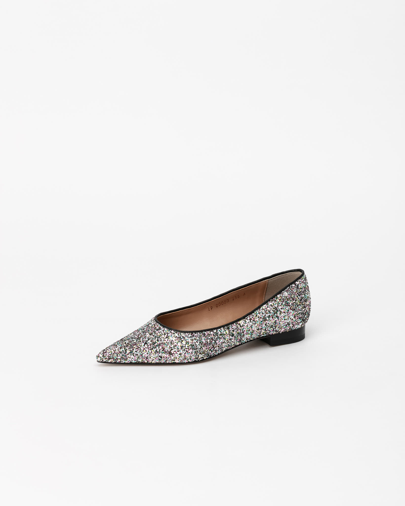 Cheryl Flat Shoes in Silver Glitter
