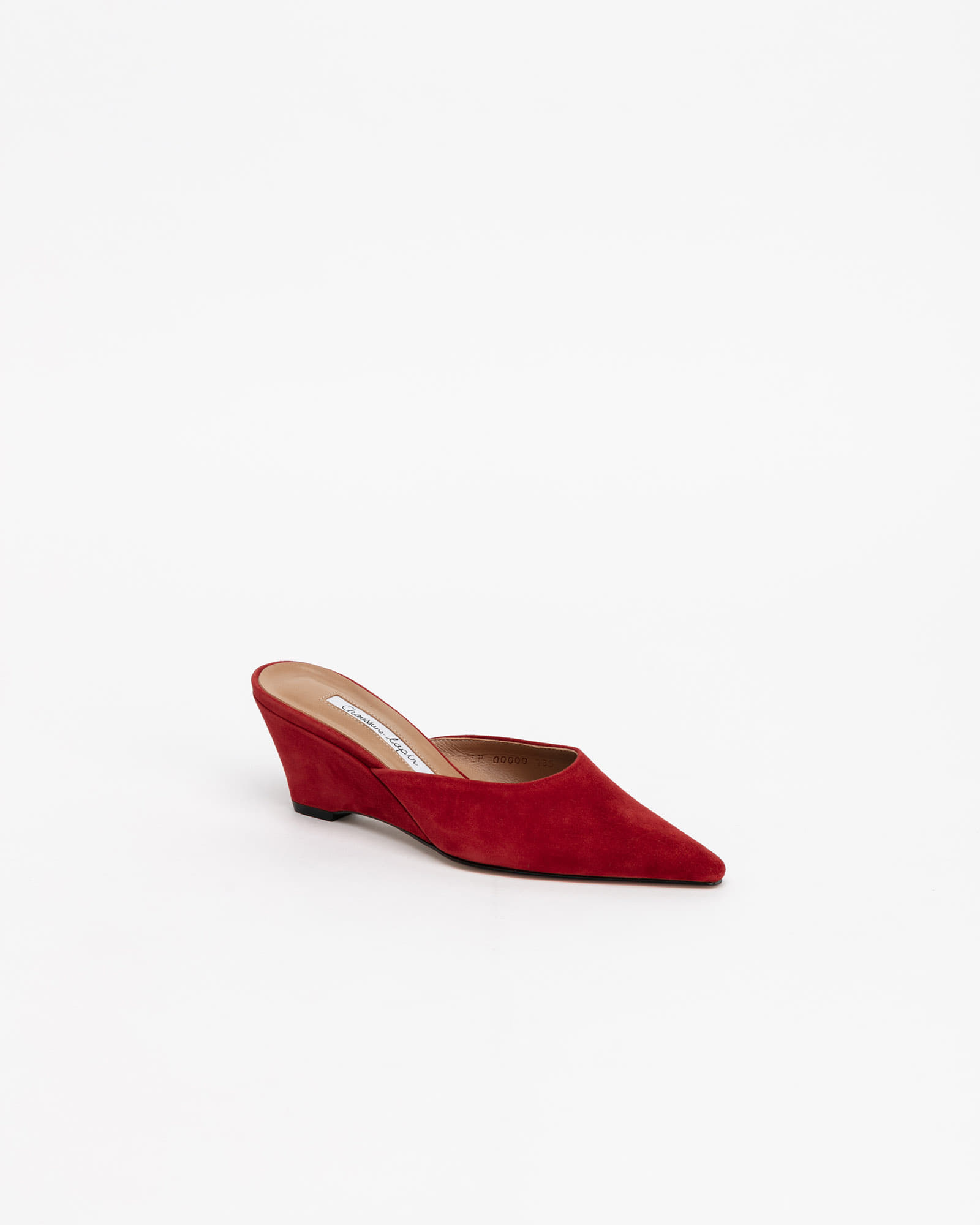 Mune Wedge Mules in Pigment Red Suede