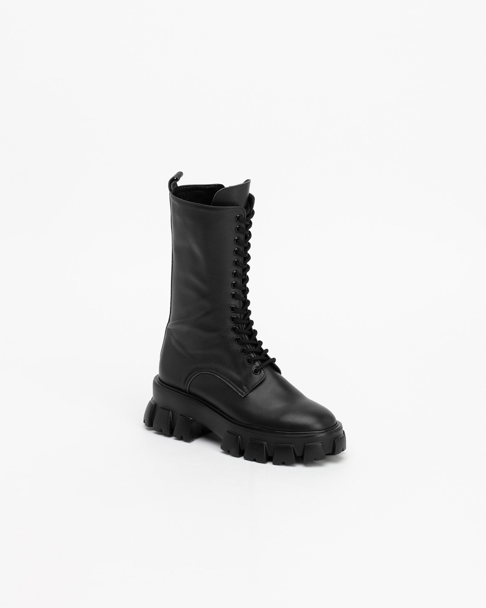 Trigera Lug-sole Combat Boots in Black