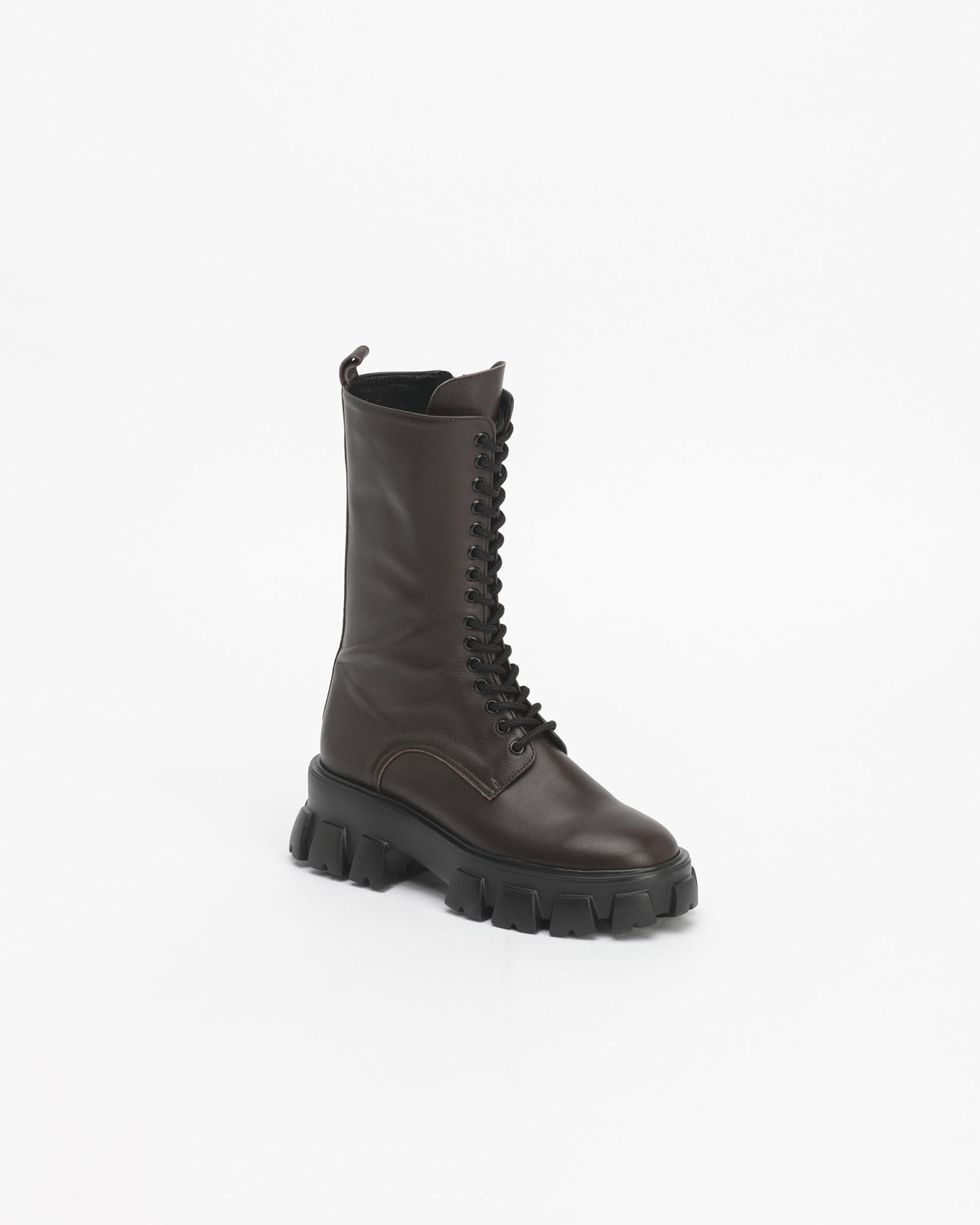 Trigera Lug-sole Combat Boots in Dark Brown