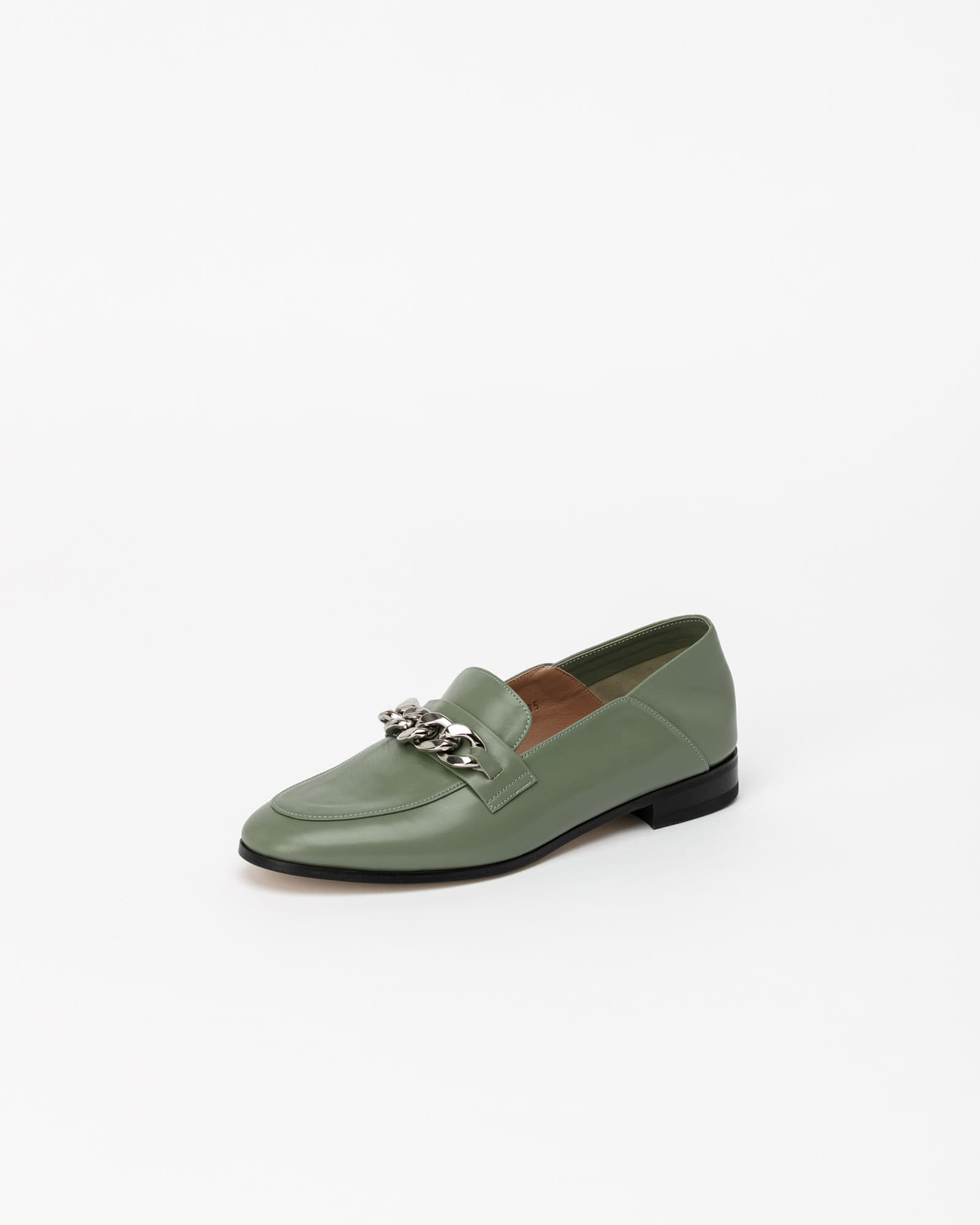 Gaia Chained Loafers in Mint Calf