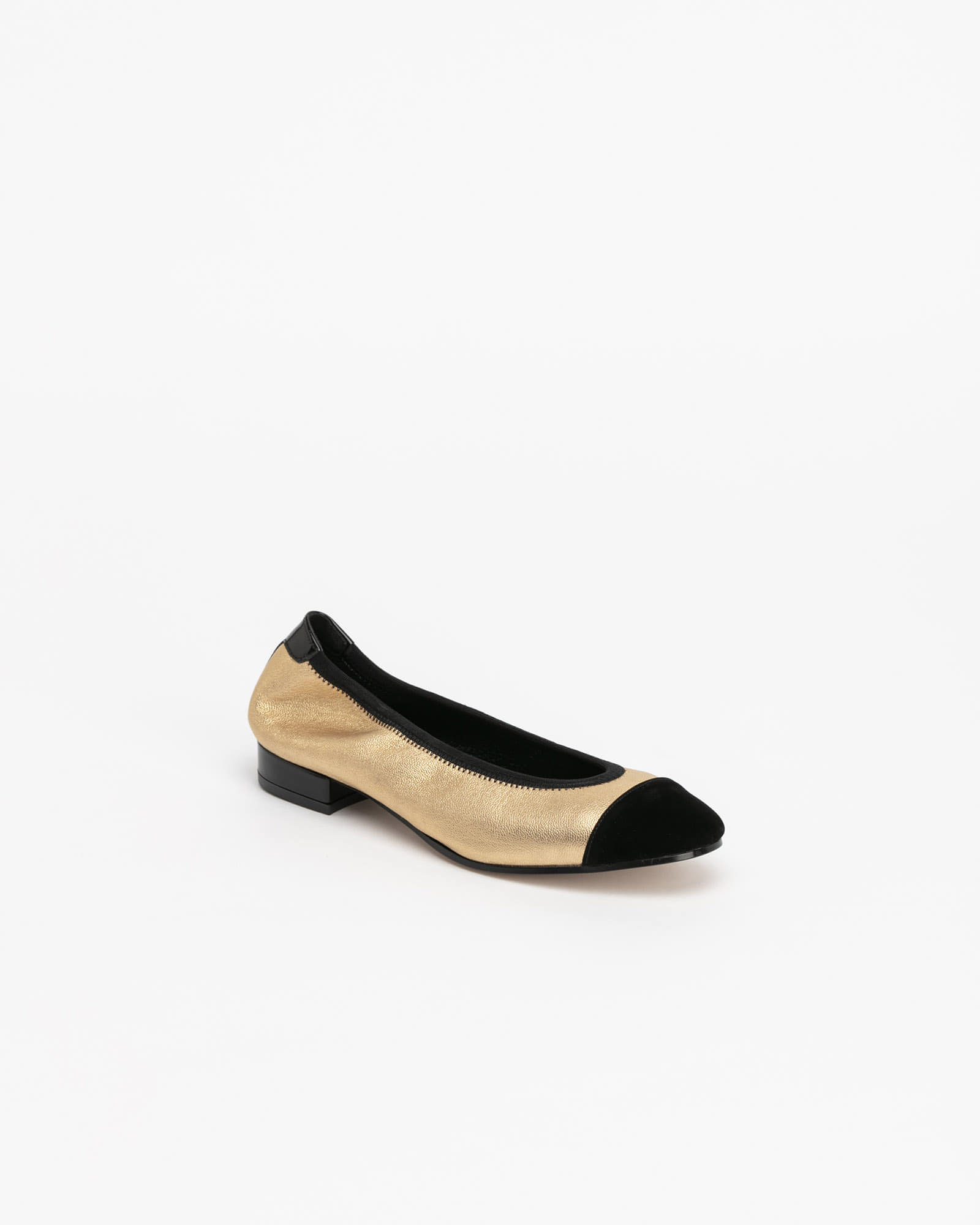 D'amore Flat Shoes in Gold with Black Toe