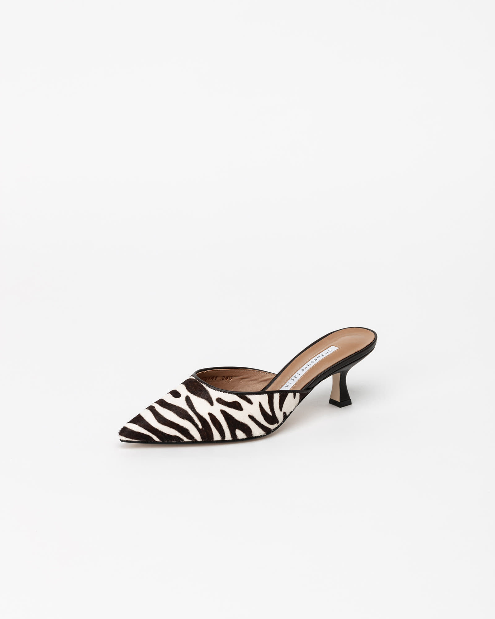 Canna Calf Hair Mules in Brown Zebra Prints