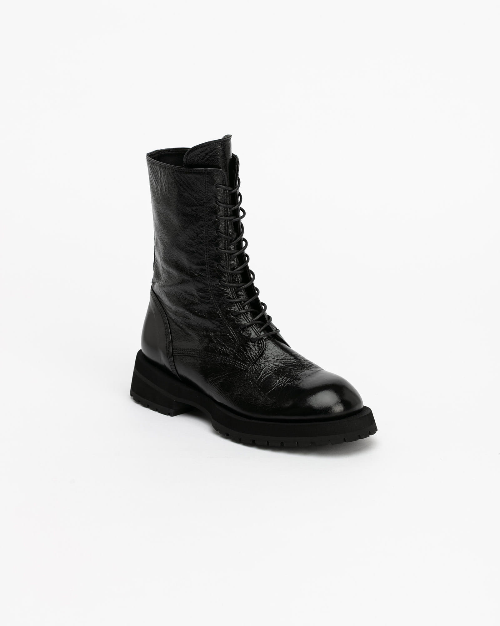 Apost Lace-up Combat Boots in Cracked Black