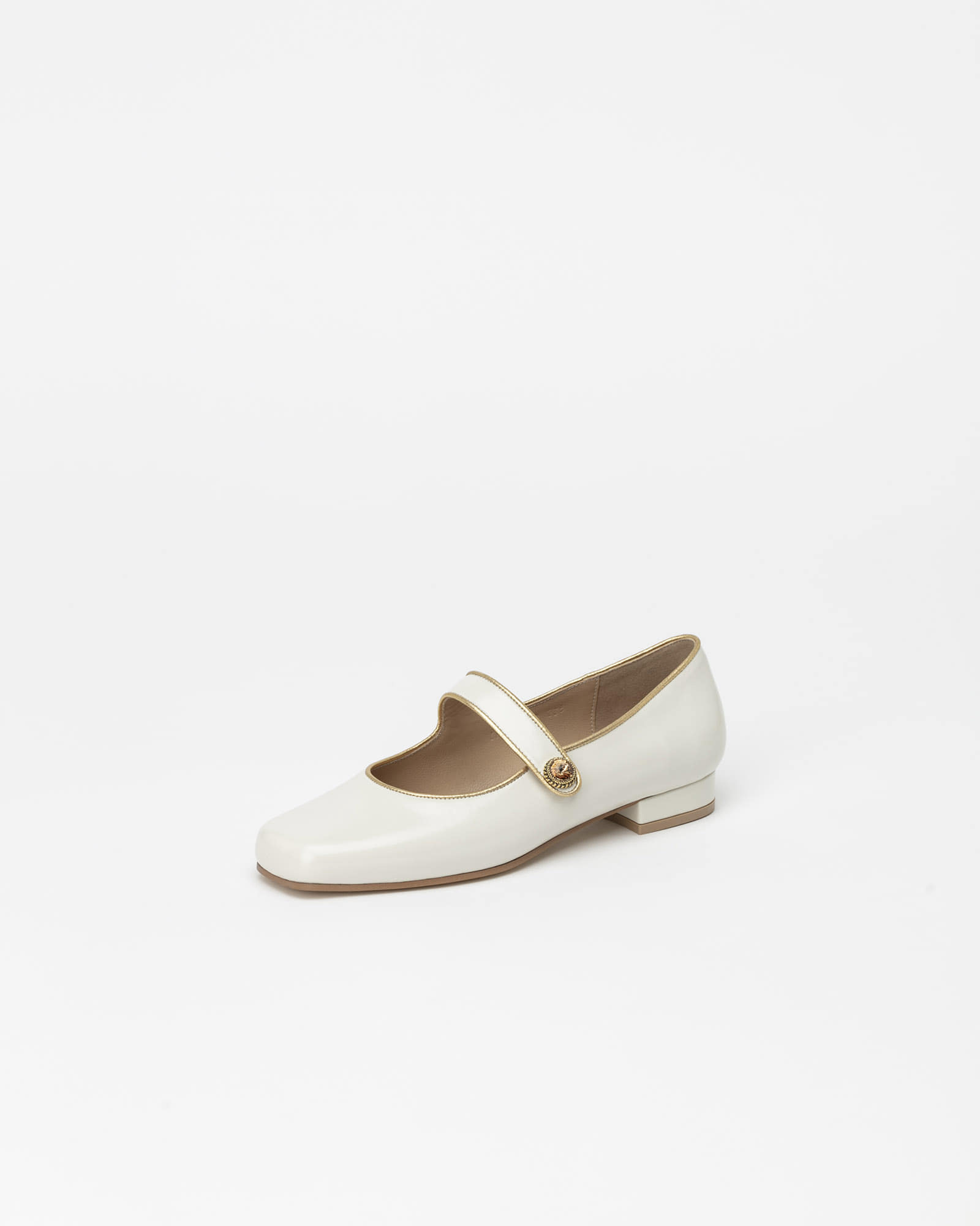 Saison Maryjane Flat Shoes in Ivory Textured Patent