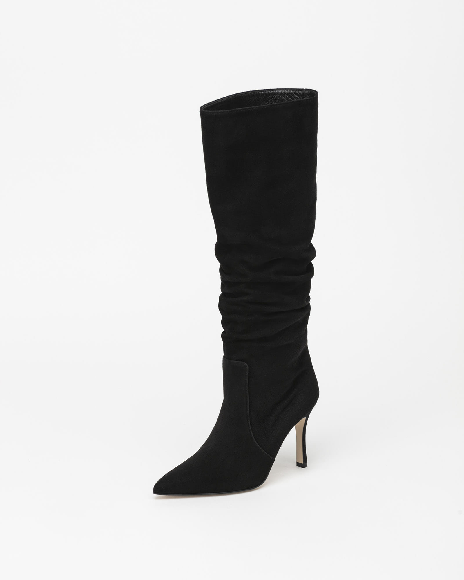 Arine Shirring Boots in Black Suede
