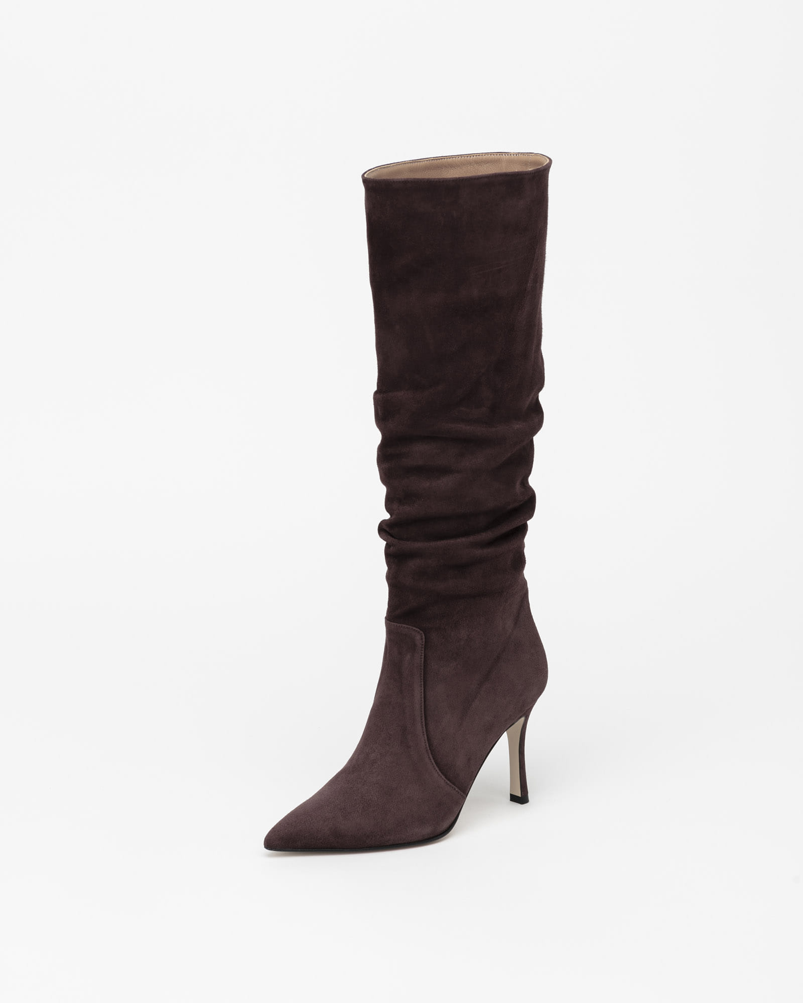 Arine Shirring Boots in Dark Brown Suede