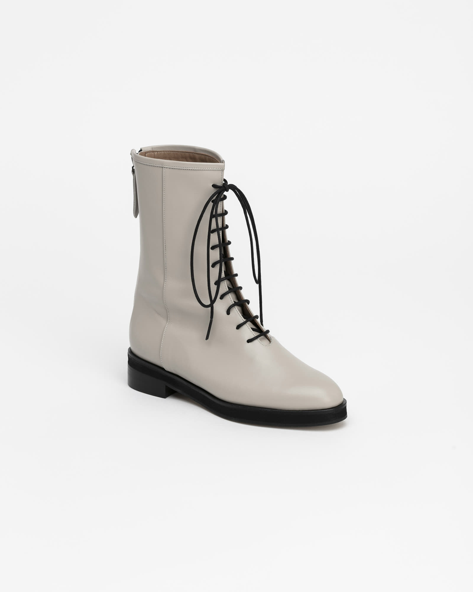 Lenma Lace-up Combat Boots in Taupe Ivory