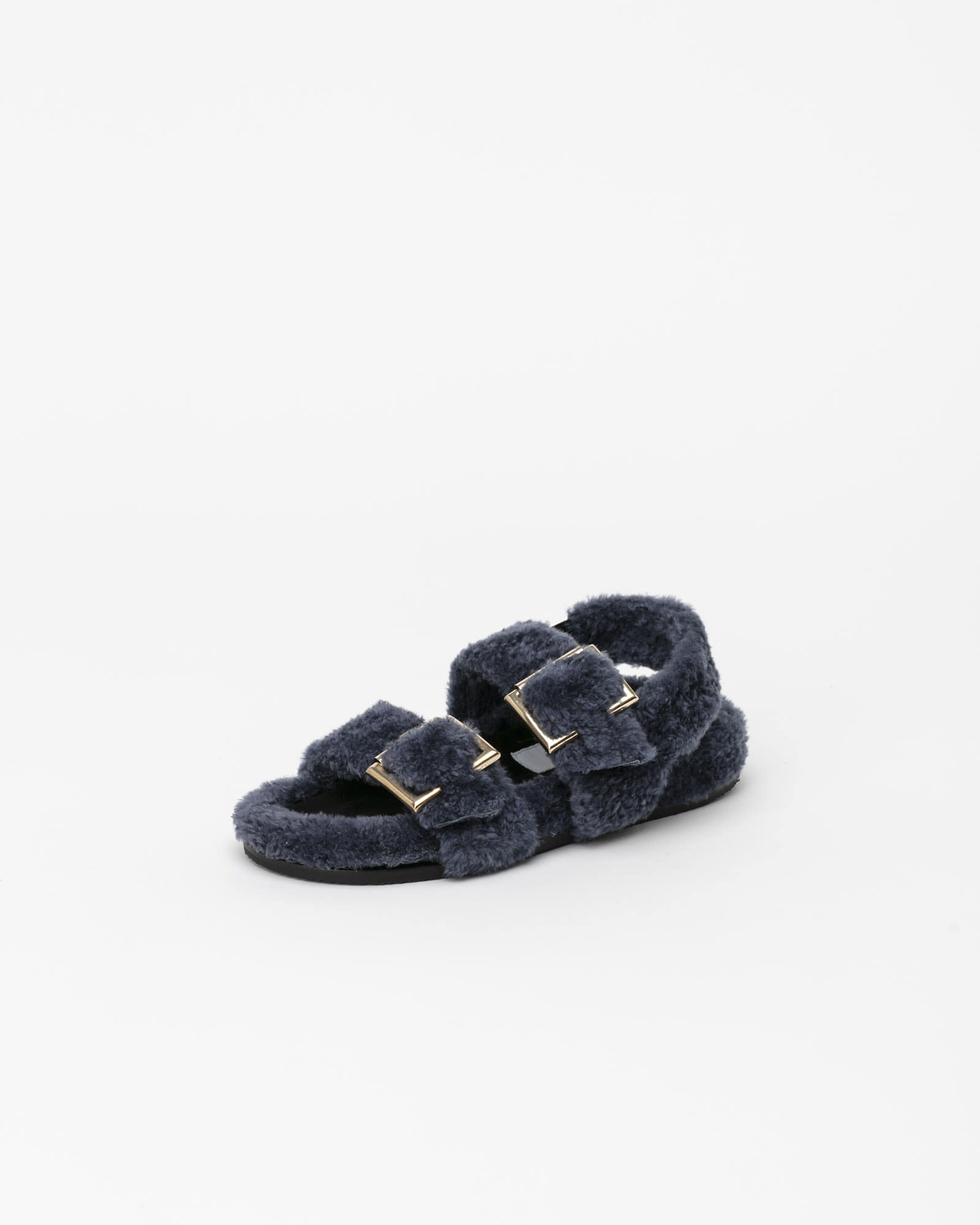Freyan Footbed Sandals in Blue Fur