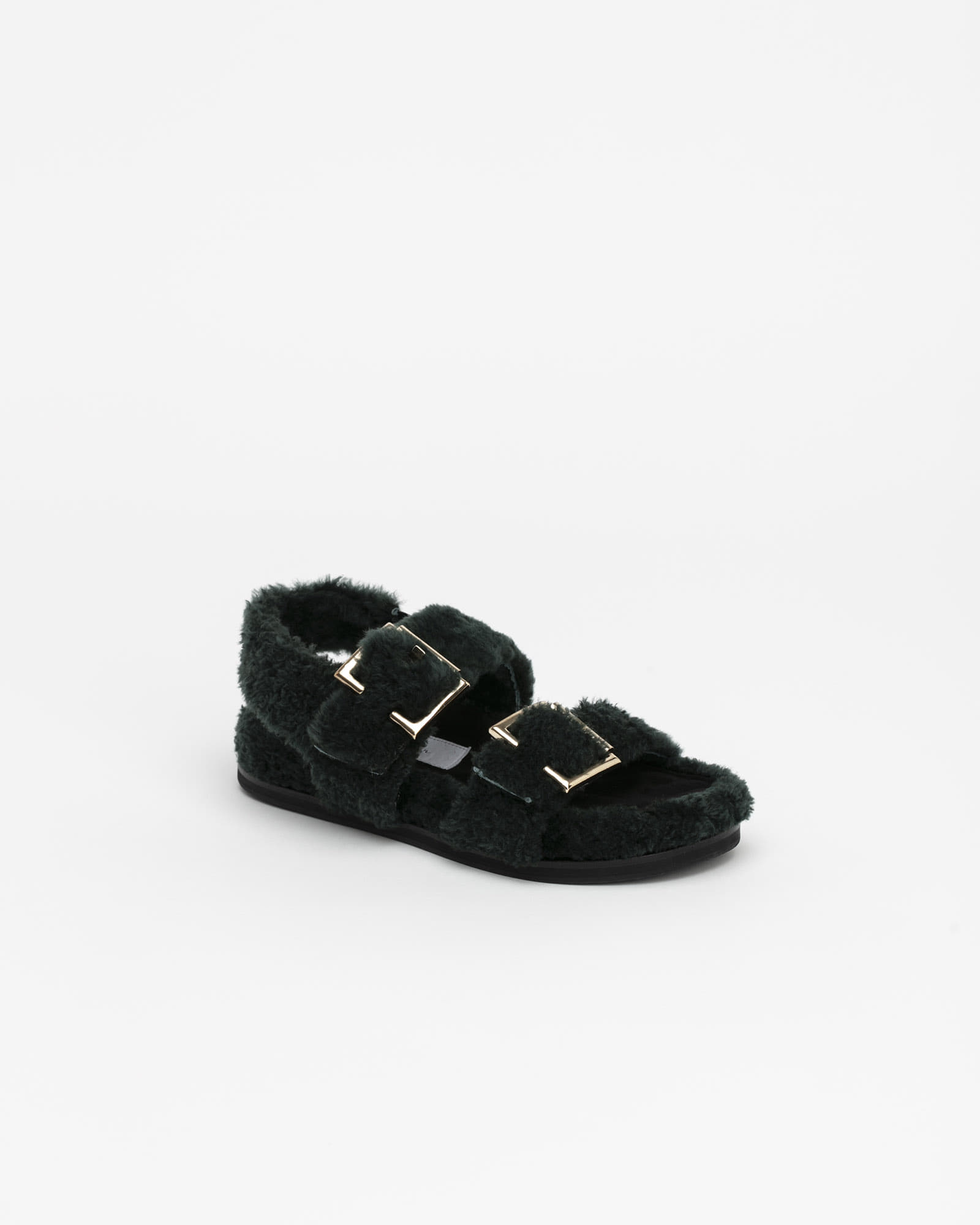 Freyan Footbed Sandals in Green Fur