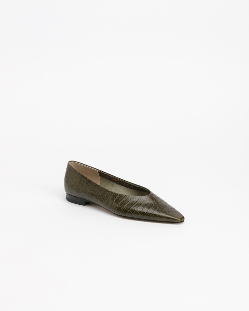Yvonne Flat Shoes in Khaki Croco Print