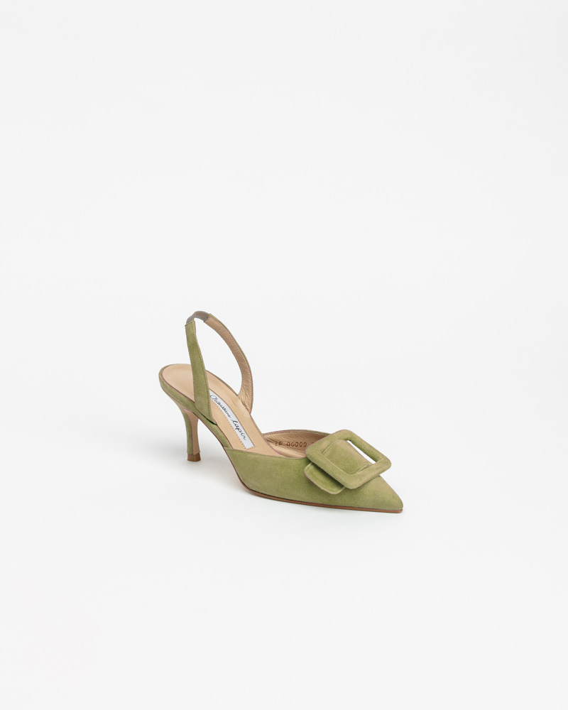 Manon Slingback Pumps in Bamboo Green Suede