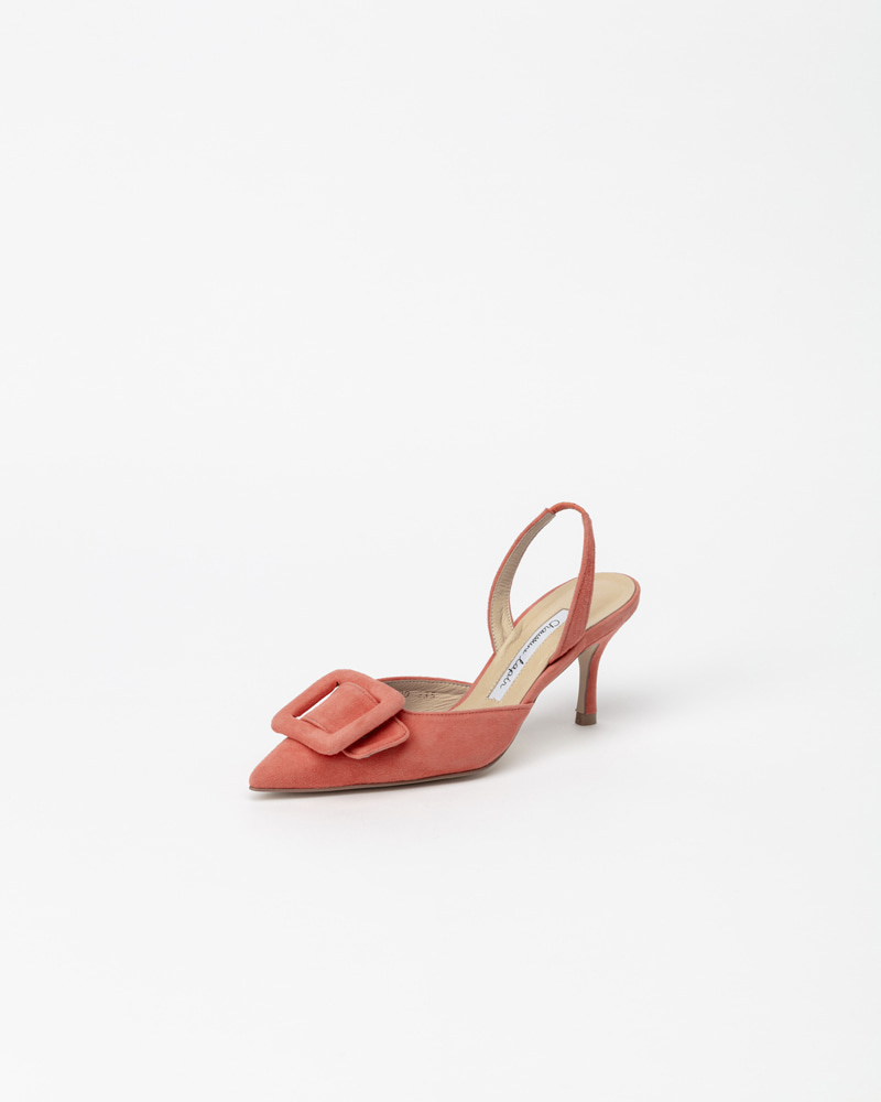 Manon Slingback Pumps in Coral Pink Suede