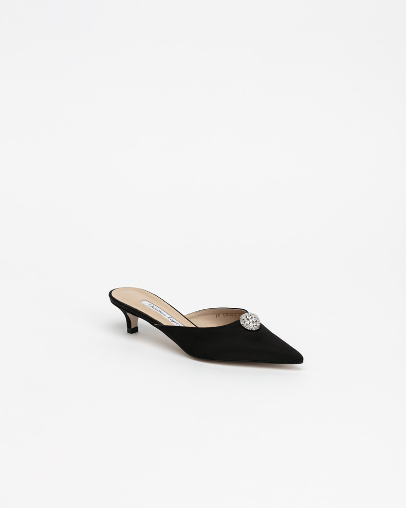 Enchanter Jewel Mules in Black Silk