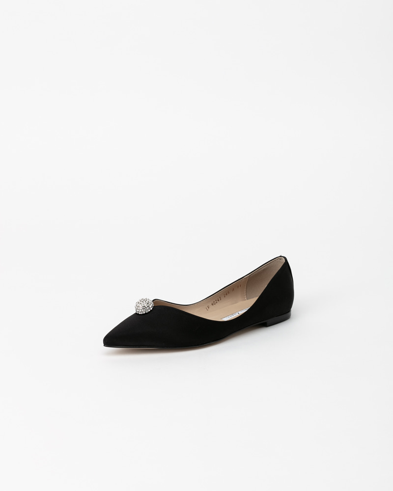 Charme Jewel Flat Shoes in Black Silk