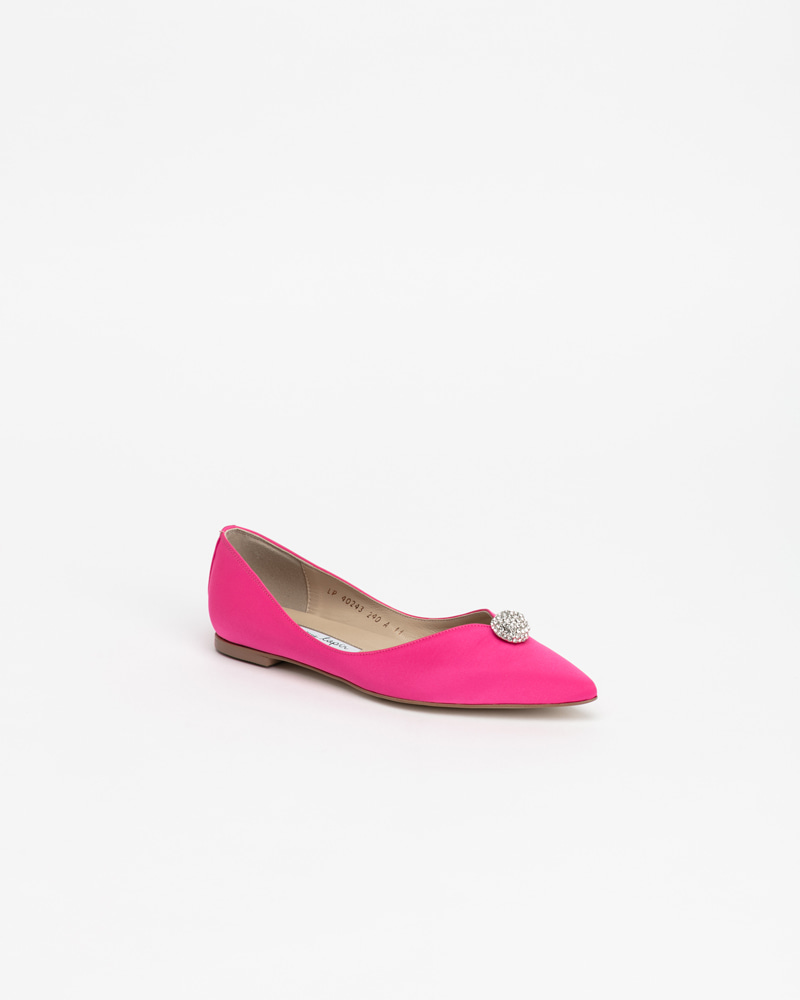 Charme Jewel Flat Shoes in Hot Pink Silk